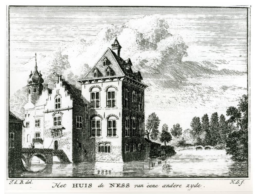 Huis te Nesse in Montfoort. Tekening Jan de Beijer, gravure Hendrik Spilman (Uit: Het Verheerlykt Nederland, Isaac Tirion, 1745/1774)